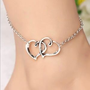 NEW Silver Large Hearts Anklet Bracelet Jewelry